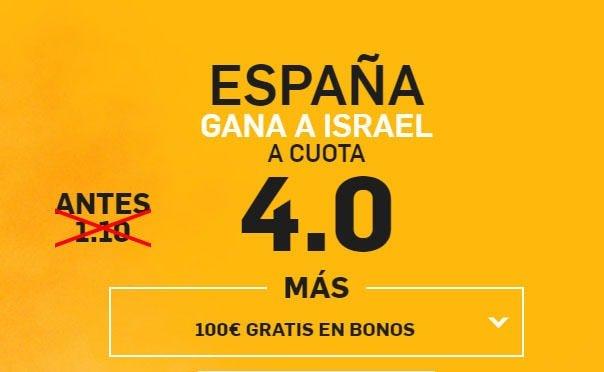 betfair españa gana a Israel cuota 4.0