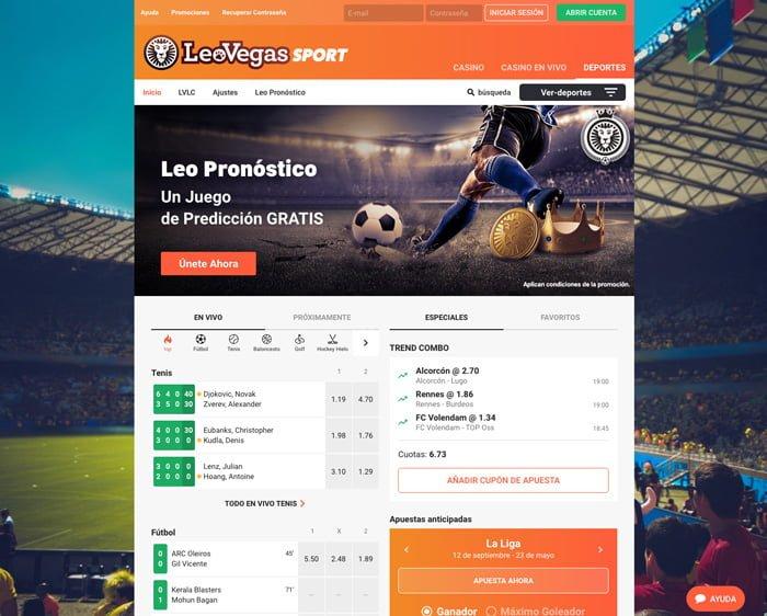 Apostar al fútbol en LeoVegas: Hasta 200€ en un bono apuestas