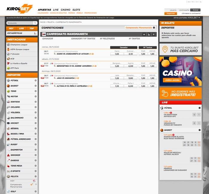 Mejora los resultados de tus apuestas de pelota en Kirolbet